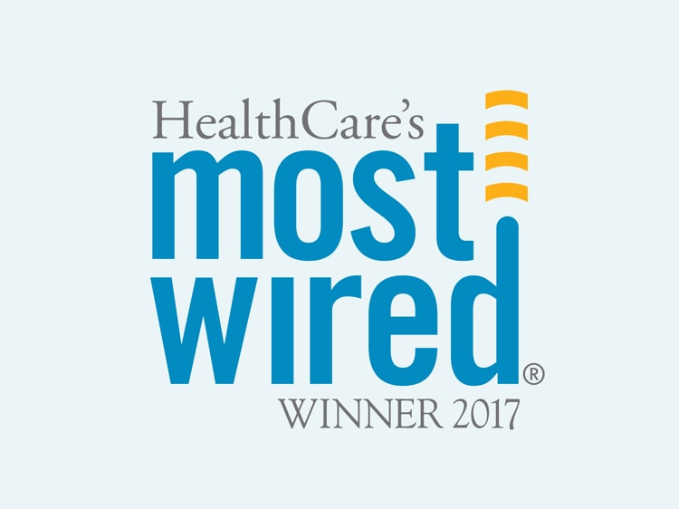 Graphic that reads HealthCare's Most Wired Winner 2017