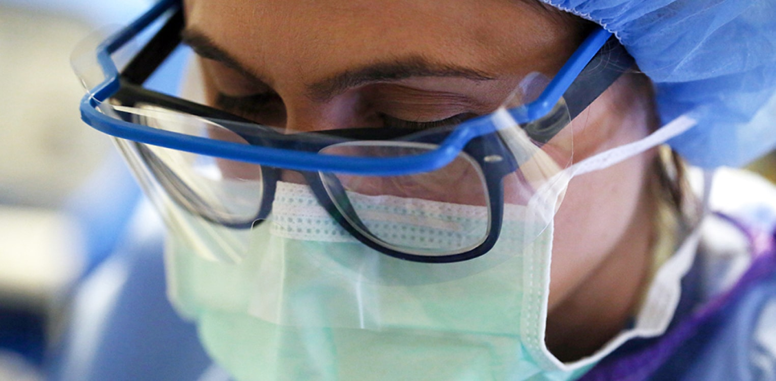 Closeup of a surgical nurse
