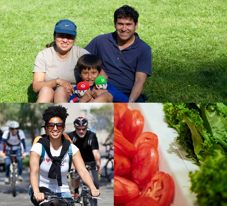Top, a young Latino family smiles in a South LA park. Bottom left, a woman on a bicycle. Bottom right, tomatoes and lettuce