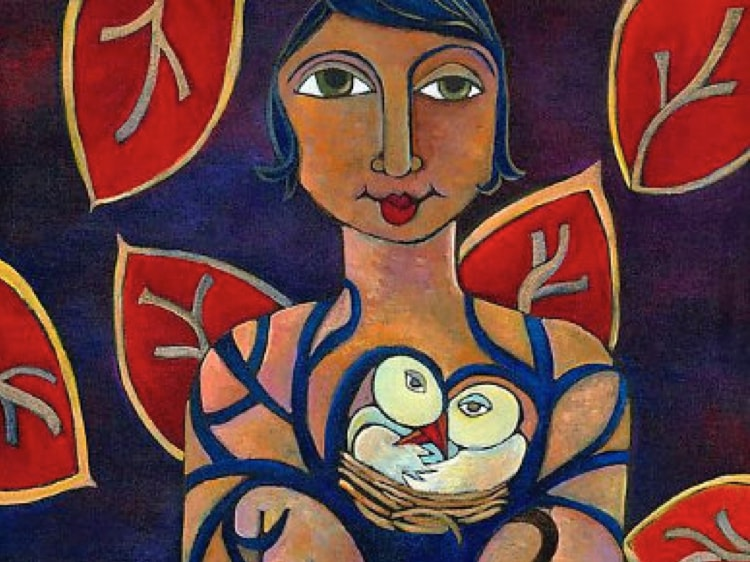 Artwork featuring a woman holding three baby birds in a nest