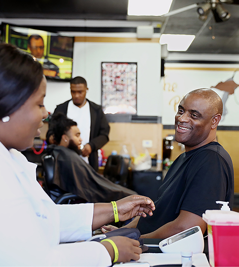 A barbershop health screening