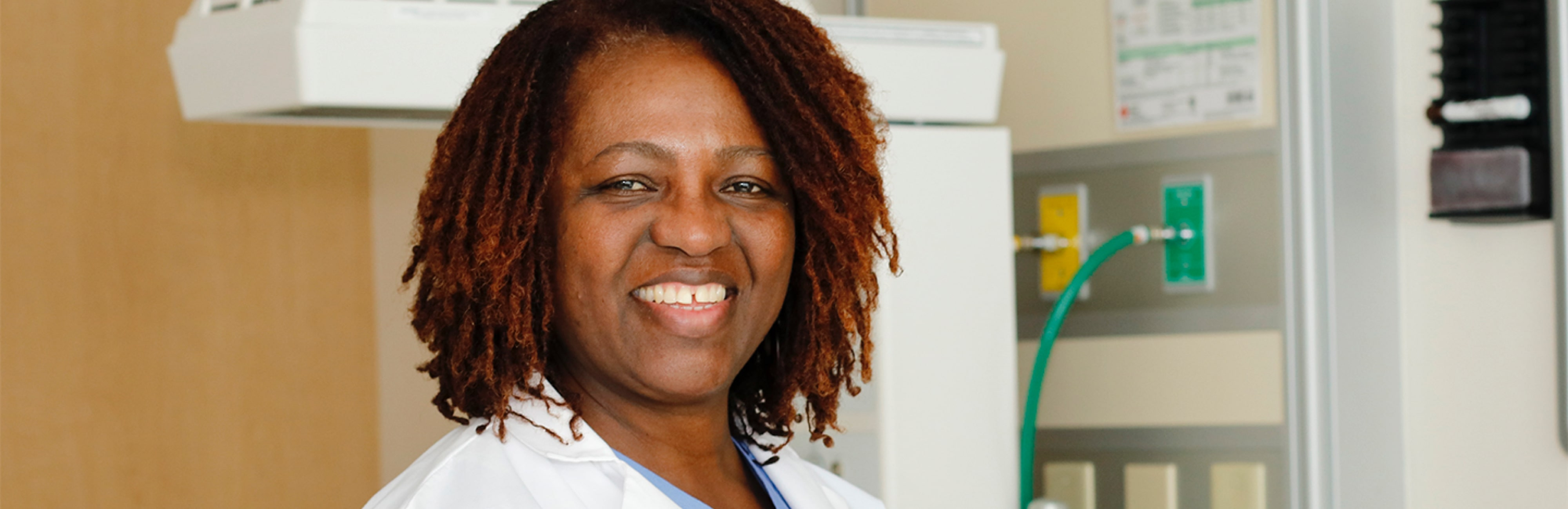 Registered nurse and midwife Angela Sojobi in the MLKCH maternity department