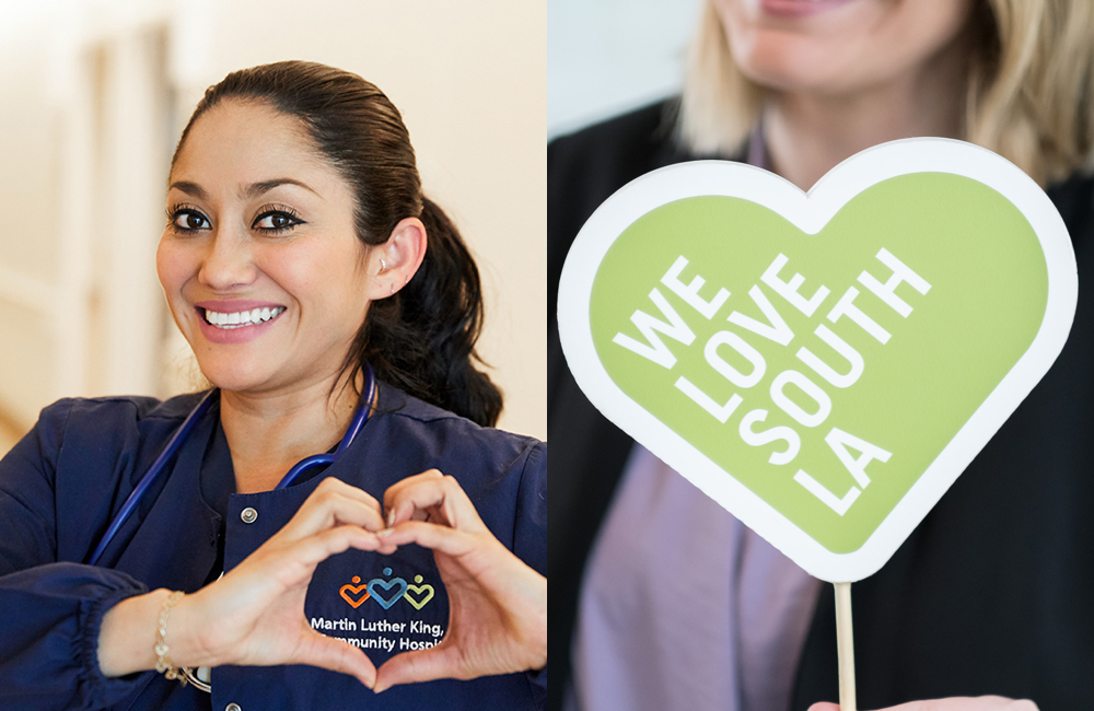Collage of MKLCH nurse and We Love South LA sign